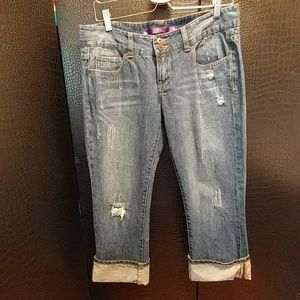 Distressed Crop Jean by PINK, Size 9 Med Blue